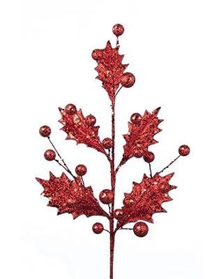 Christmas Sparkling red holly spray (50cm)