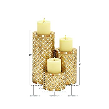 Deco 79 23897 Metal Mosaic Candle Holder S/3 11