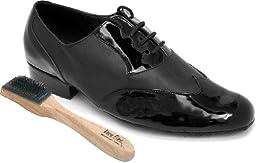 Very Fine Men\'s Salsa Ballroom Tango Latin Dance Shoes Style M100101 Bundle with Dance Shoe Wire Brush, Black Patent Leather 12 M US Heel 1 Inch