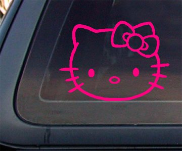 Hello Kitty Face 5″ WIDE Car Decal / Sticker – HOT PINK