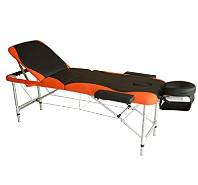"HomCom 2"" Portable Folding Reiki Massage Table w/ Carrying Case - Black and Orange"