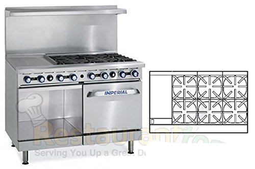 "Imperial Commercial Restaurant Range 48"" With 6 Burner Oven/Cabinet 12"" Griddle Nat Gas Ir-6-G12-Xb"