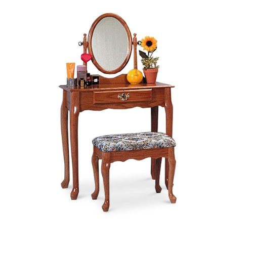 Queen Anne Oak Bedroom Vanity Make Up Bench