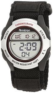 Armitron Sport Men's 408095SIL Chronograph Black Strap Digital Watch