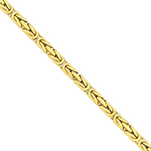 14K Yellow Gold 6.50mm Byzantine Chain Necklace - Fine Jewelry Gift