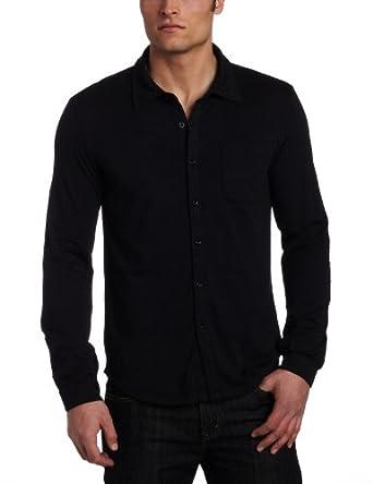Mod-O-Doc Men's Classic Jersey Long Sleeve Button Down Shirt, Black, Small
