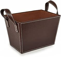 Roosevelt Faux Leather Bin with Handles - Brown