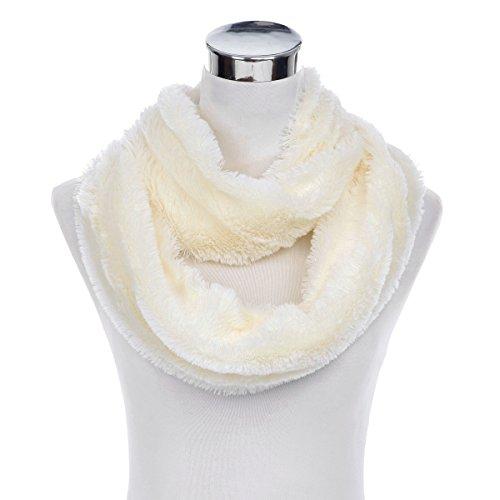 Super Soft Faux Fur Solid Color Warm Infinity Loop Circle Scarf, Cream