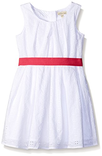 Scout + Ro Girls' Eyelet Dress With Contrast Belt, White, 8 (Scout Belt compare prices)