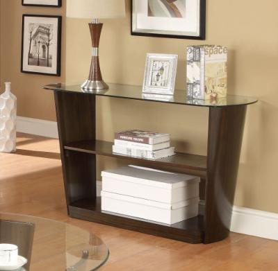 Glass Top Sofa Table with Round Edges and Shelf