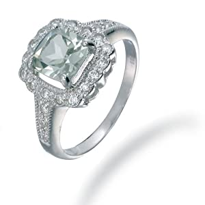 7MM Cushion Cut Green Amethyst Ring In Sterling Silver 1.50 CT (Available In Sizes 5 - 9) from FineDiamonds9