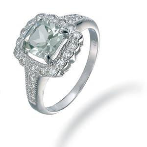 Vir Jewels, Bague Femme Argent fin 925/1000 Vert Amethyste 1.1 Karat, T 54