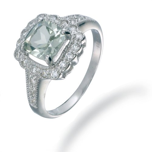 7MM Cushion Cut Green Amethyst Ring In Sterling Silver 1.50 CT (Available In Sizes 5 - 9)