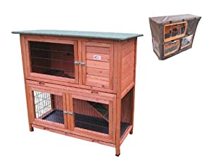 BUNNY BUSINESS Double Decker Rabbit/ Guinea Pig Hutch with Sliding Trays/ Deluxe Cover, 41-inch