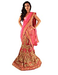 Beige Pink Ceremony Wear Heavy Embroidery Hand Work Net Lehenga Sari
