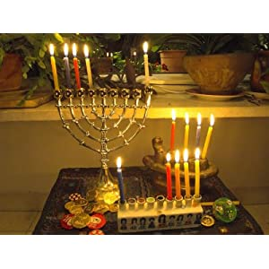 Jewish Festival of Hanukkah, Three Hanukiah with Four Candles Each, Jerusalem, Israel, Middle East Stretched Canvas Poster Print