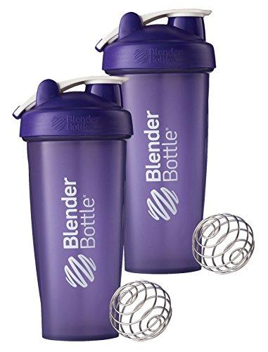 28 Oz. Hook Blender Bottle W/wire Shaker Ball Bundle-Full Color Purple-Pack of 2