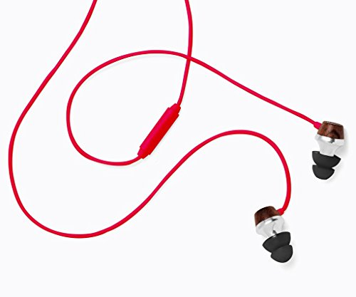 Symphonized ALN Premium Genuine Wood In-ear Noise-isolating Headphones|Earbuds|Earphones with Mic (Red)