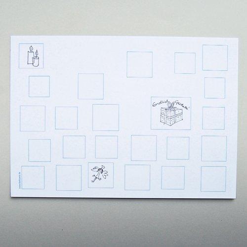 Bastel-Adventskalender DIN A4, Rückseite mit gedruckten Feldern, Opalkarton 246 g/qm