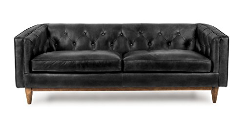 Vintage Black Leather Mid-Century Sofa