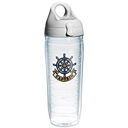 Tervis Captain Wheel Emblem Water Bottle with Grey Lid, 24-Ounce, On The Water