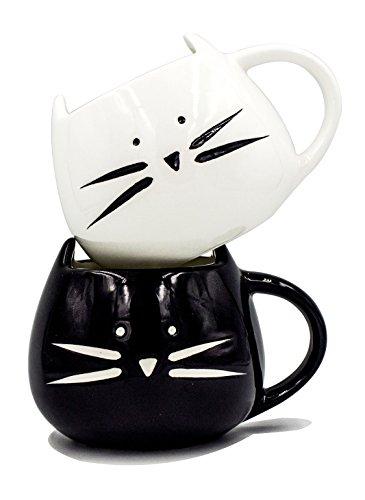 Boseen Lovely Little Cute Cat Coffee Tea Milk Ceramic Mug Cup, Best Gift for Lover (Pack of 2)
