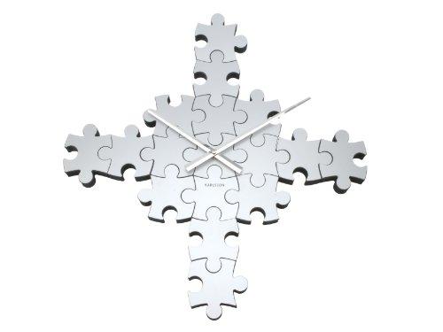Karlsson Wall Clock Puzzle, Silver Matt