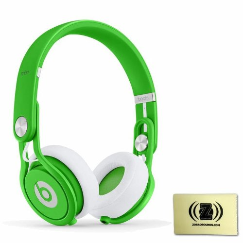 Beats By Dr. Dre Mixr Lightweight Dj Headphones (Green) Bundle With Custom Designed Zorro Sounds Instrument Cloth
