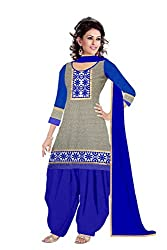 Queen Creation Women's Beautiful Semistitched Embroidered Blue Dress Material