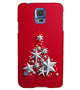 SILVER STARS IN A RED BACK GROUND 3D Hard Polycarbonate Designer Back Case Cover for Samsung Galaxy S5 Mini :: Samsung Galaxy S5 Mini G800F