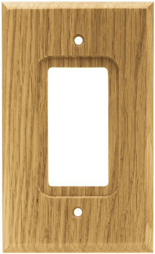 BRAINERD 64670 Wood Square Single Decorator Wall Plate / Switch Plate / Cover, Medium Oak