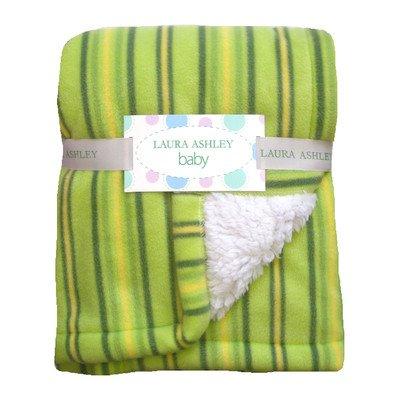 Laura Ashley Stripe Crib Throw Baby Blanket, Color: Sage