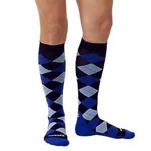Zensah Women's Argyle Compression Socks, Black/Royal/Baby Blue, Medium