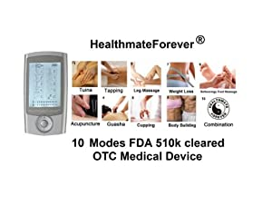 2014 Version HealthmateForever 2in1 Double Value 10 modes newest Tens physical therapy device unit. best electrotherapy device as powerful as the one used in the chiropractor office, Hands free Electronic Pulse Massager for electrotherapy Pain Management, Digital Acupuncture Physiotherapy machine with backlit, two outputs have two independent intensity control and independent modes control, liftetime warranty.This new model is based on Pro-8AB, but Three New Feautres: - modes and intensity are separately controlled in Channel A and Channel B. -it has two more custom made modes for legs and feet. It can treat two people or 2 targeted areas with different mode and intensity. It has double value just like using two Tens units to save lots of treatment time. -80 minute timer setting. 100% quality guarantee, Lifetime Warranty