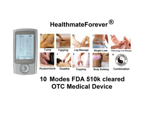 Fda Cleared 2014 Version Healthmateforever 2In1 Double Value Pro10Ab 10 Modes Electrotherapy Device With Two Independent Intensity Control And Independent Modes Control -80 Minute Timer Setting. 100% Quality Guarantee, Lifetime Warranty