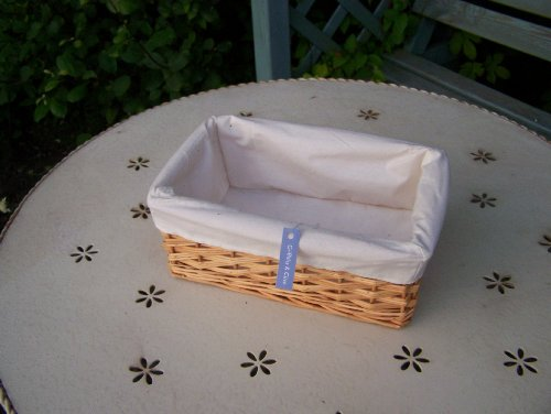 Traditional Small Wicker Basket With Liner&handle : Traditional small wicker storage basket with liner