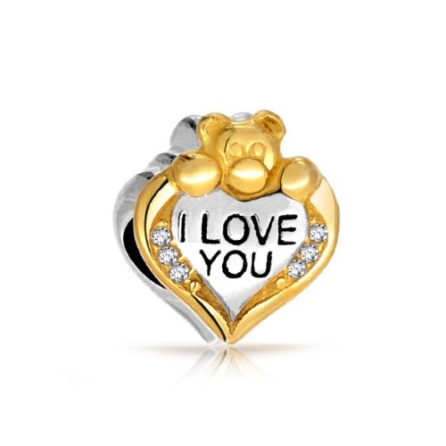 Bling Jewelry 925 Silver Gold Vermeil CZ I Love
