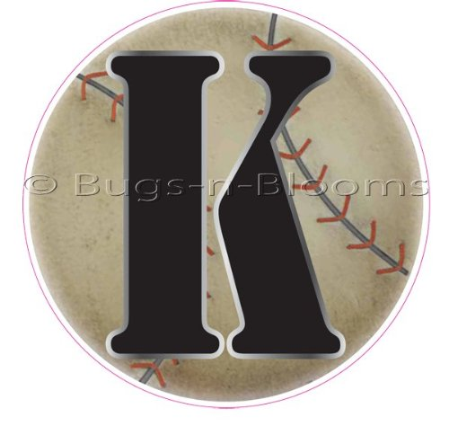 """""""K"""" Baseball Alphabet Letter Name Wall Sticker (5 1/2"""" Diameter). Decal Letters For Children'S, Nursery & Baby'S Sport Room Decor, Baby Name Wall Letters, Boys Bedroom Wall Letter Decorations, Child'S Names. Sports Balls Mural Walls Decals Baby Shower front-963594"""