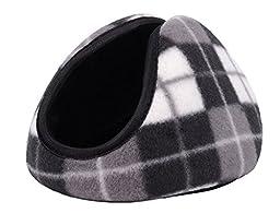 Men / Women\'s Behind the Head Design Fleece Ear Warmers, Grey Plaid