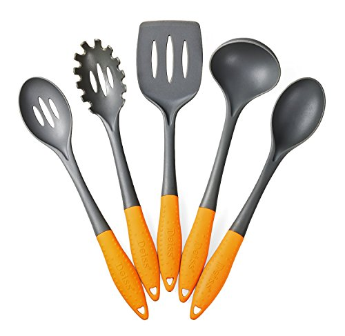 Deiss® ART 5-piece Nylon Utensil Set - Soup Ladle, Slotted Turner, Spaghetti Server, Serving Spoon, Slotted Serving Spoon - Soft Ergonomic Handle - Safe for Non-stick Cookware