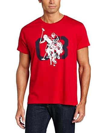 U s polo assn men 39 s screen printed t shirt engine red for Screen printed polo shirts