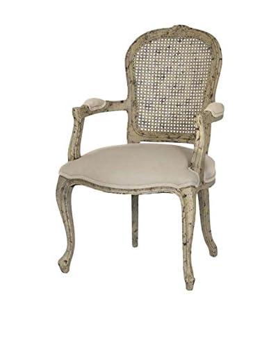 Zentique Lyon Cane-Back Armchair, Sandy Tan/Olive Green