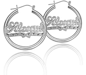 Personalized Hoop Earrings (Pick Any Name) - Sterling Silver