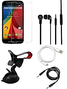 NIROSHA Tempered Glass Screen Guard Cover Case Headphone USB Cable Mobile Holder for Motorola G2 2nd Gen - Combo