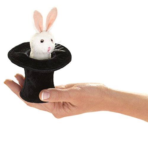 Folkmanis Mini Rabbit in Hat Finger Puppet - 1