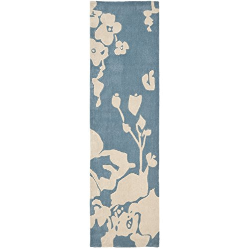 Safavieh Modern Art Collection MDA621A Handmade Blue and Ivory Polyester Runner, 2 feet 6 inches by 12 feet (2'6