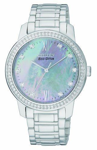 Citizen Eco-Drive Women's Quartz Watch with Mother of Pearl Dial Analogue Display and Silver Stainless Steel Bracelet EM0110-51D