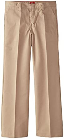 Dickies Big Girls' Flat Front Pant - School Uniform,Khaki,7 Slim