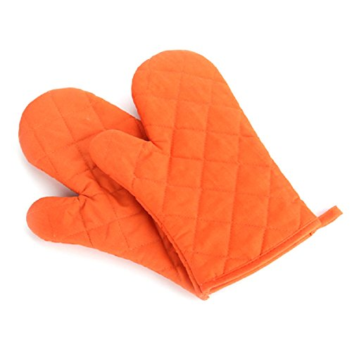 Aokdis (Tm) Hot Selling 2Pcs Cotton Oven Gloves Heat Resistant Microwave Oven Kitchen Glove (Orange)