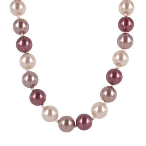 Blush Tonal Simulated Pearl Strand Necklace (12mm ), 18+2